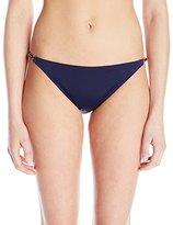 Milly Women's Italian Solid Positano Bikini Bottom with Bamboo Trim