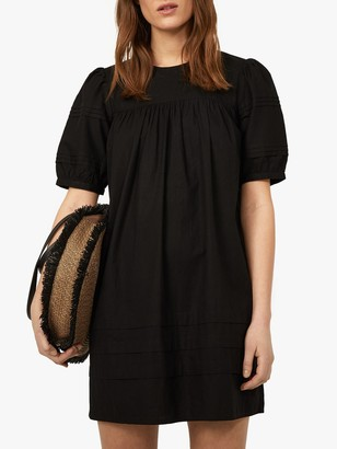 Warehouse Pintuck Mini Dress, Black