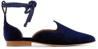 Le Monde Beryl - Wraparound Velvet D'orsay Slipper Shoes - Navy