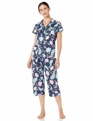 Karen Neuburger Women's Short Sleeve Top and Crop Pant Set with Wicking Technology