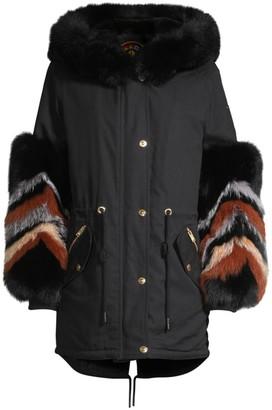 Moose Knuckles Coderre Fox & Rabbit Fur-Trim Cotton Canvas Parka