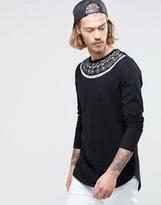 Asos Longline Long Sleeve T-Shirt With Geo-Tribal Yoke Print And Curve Hem
