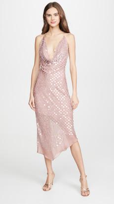 Cushnie Sleeveless Cowl Neck Dress with Asymmetrical Hem