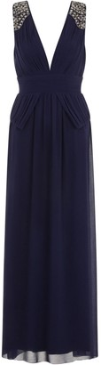 Little Mistress Navy Plunge Peplum Maxi Dress