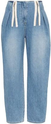 Sjyp High-Rise Zip Denim Jeans