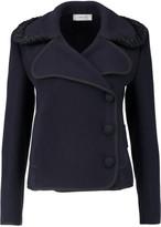 Carven Faux fur-trimmed wool-blend felt coat