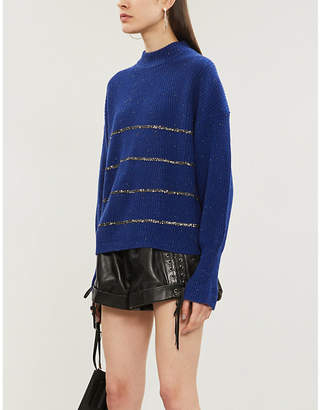 The Kooples Bead-embellished funnel-neck wool-and-cashmere blend jumper