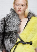 Jil Sander Grey / Green Fur Scarf
