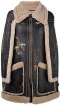 Maison Margiela shearling lined cape sleeve coat