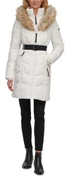 Calvin Klein Belted Faux-Fur-Trim Hooded Puffer Coat