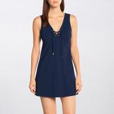 Karla Colletto Basic Lace-Up V-Neck Dress