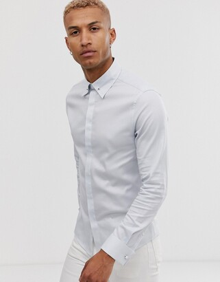 Asos Design DESIGN wedding skinny fit twill shirt in light blue with collar bar