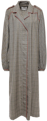 Johanna Ortiz Prince Of Wales Checked Wool And Silk-blend Coat