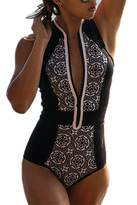 CFR Women's One Piece Zipper Bikini Push Up Monokini Conjoined Bathing ,L Suit USPS Post