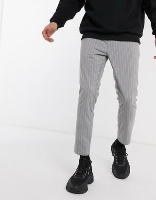 ASOS DESIGN super skinny ankle grazer trousers in grey pinstripe