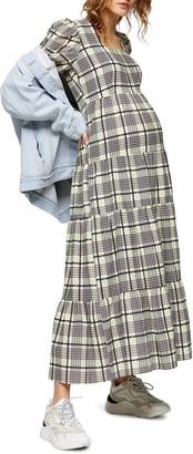 Topshop Maternity Plaid Long Sleeve Midi Dress