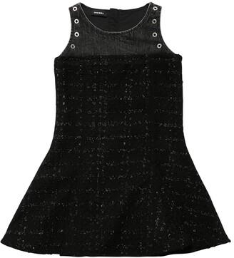 Diesel Patchwork Boucle & Denim Dress
