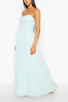 boohoo Chiffon Bandeau Sweetheart Maxi Bridesmaid Dress