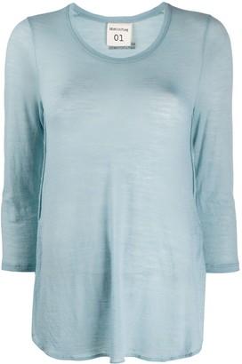 Semi-Couture Modal See-Through Casual T-Shirt
