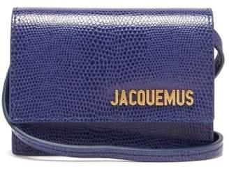 Jacquemus Bello Lizard-effect Leather Shoulder Bag - Womens - Blue