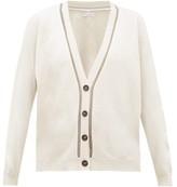 Brunello Cucinelli Metallic Beaded-trim V-neck Cashmere Cardigan - Womens - Ivory