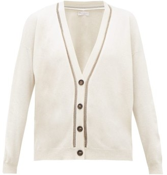 Brunello Cucinelli Metallic Beaded-trim V-neck Cashmere Cardigan - Womens - Ivory