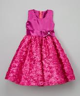 Fuchsia Rosette A-Line Dress - Toddler