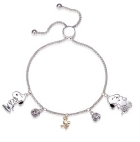 """Peanuts Snoopy"""" and """"Woodstock"""" Crystal Adjustable Bolo Stainless Steel Bracelet with Silver Plated Charms, Created for Macy's"""