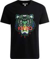 Kenzo T-Shirt a girocollo di colore nero con logo multicolor