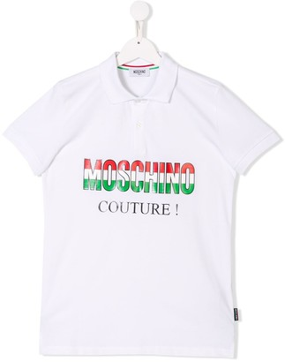Moschino Kids TEEN logo couture polo shirt