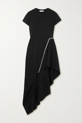 Area Asymmetric Crystal-embellished Woven Dress - Black