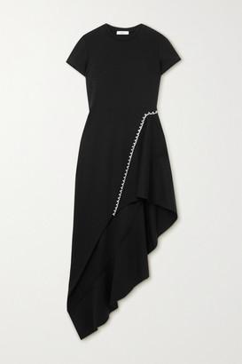 Area Asymmetric Crystal-embellished Woven Dress - Black