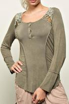 POL Lace Henley Top