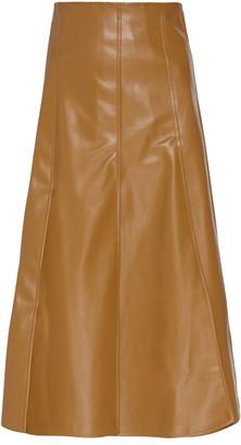A.W.A.K.E. Mode Paneled Faux-Leather Knee-Length Skirt
