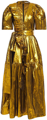 Stella McCartney Pleated Silk-blend Lame Maxi Dress