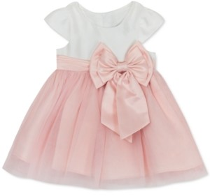 Rare Editions Baby Girls Mesh Bow Dress