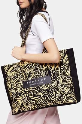 Topshop Black Printed Oxford Circus Tote Bag