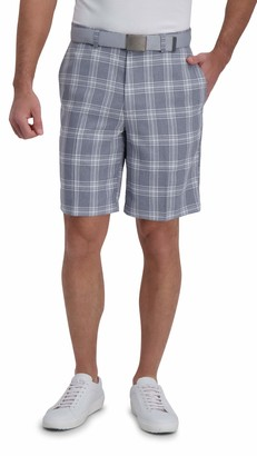 Haggar Men's Cool 18 Pro Stretch Kitchen Plaid Flat Front Straight Fit Expandable Waist Short
