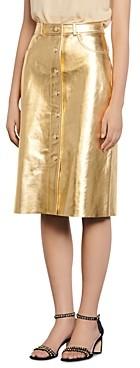 Sandro Gleam Metallic-Leather Pencil Skirt