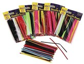 "Chenille Kraft® Regular Stems, 6"" x 4mm, Metal Wire, Polyester - Multi-Colored (100 Per Pack)"