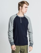 Reigning Champ Navy/Heather Grey RC-2074 LS Henley Sweater