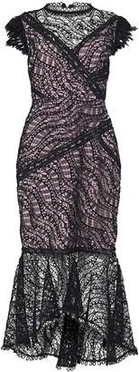 True Decadence Black Lace High Neck Midi Dress