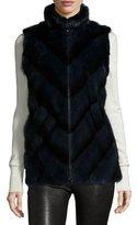 Gorski Mink Fur Chevron Zip Vest, Black Iris