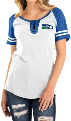 New Era Women's White/Royal Seattle Seahawks Historic Raglan Contrast Sleeve Lace-Up T-Shirt