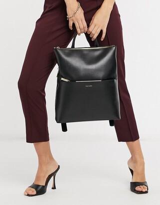 Ted Baker Kryshia saffiano leather bar detail laptop backpack in black