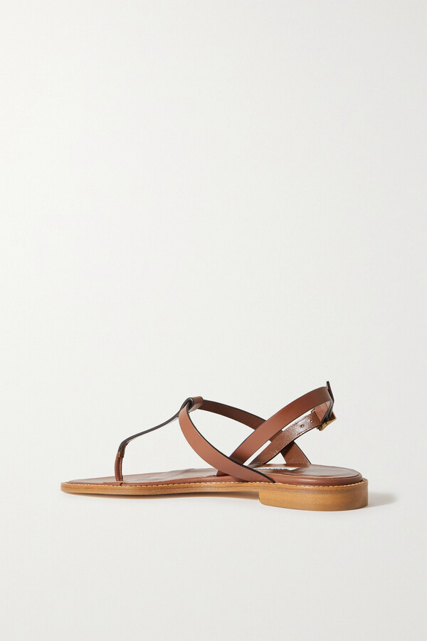Thumbnail for your product : Manolo Blahnik Hata Leather Slingback Sandals - Brown