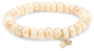 Sydney Evan Large 14K Yellow Gold, Moonstone & Diamond Protection Charm Beaded Bracelet
