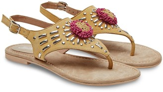 Joe Browns Suede Studded Sandals - Yellow/Multi