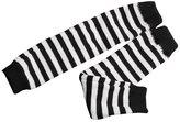 uxcell Men Balck White Stripes Fingerless Winter Stretch Long Gloves