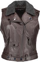 Urban Republic Chocolate Faux Fur-Collar Faux Leather Moto Vest